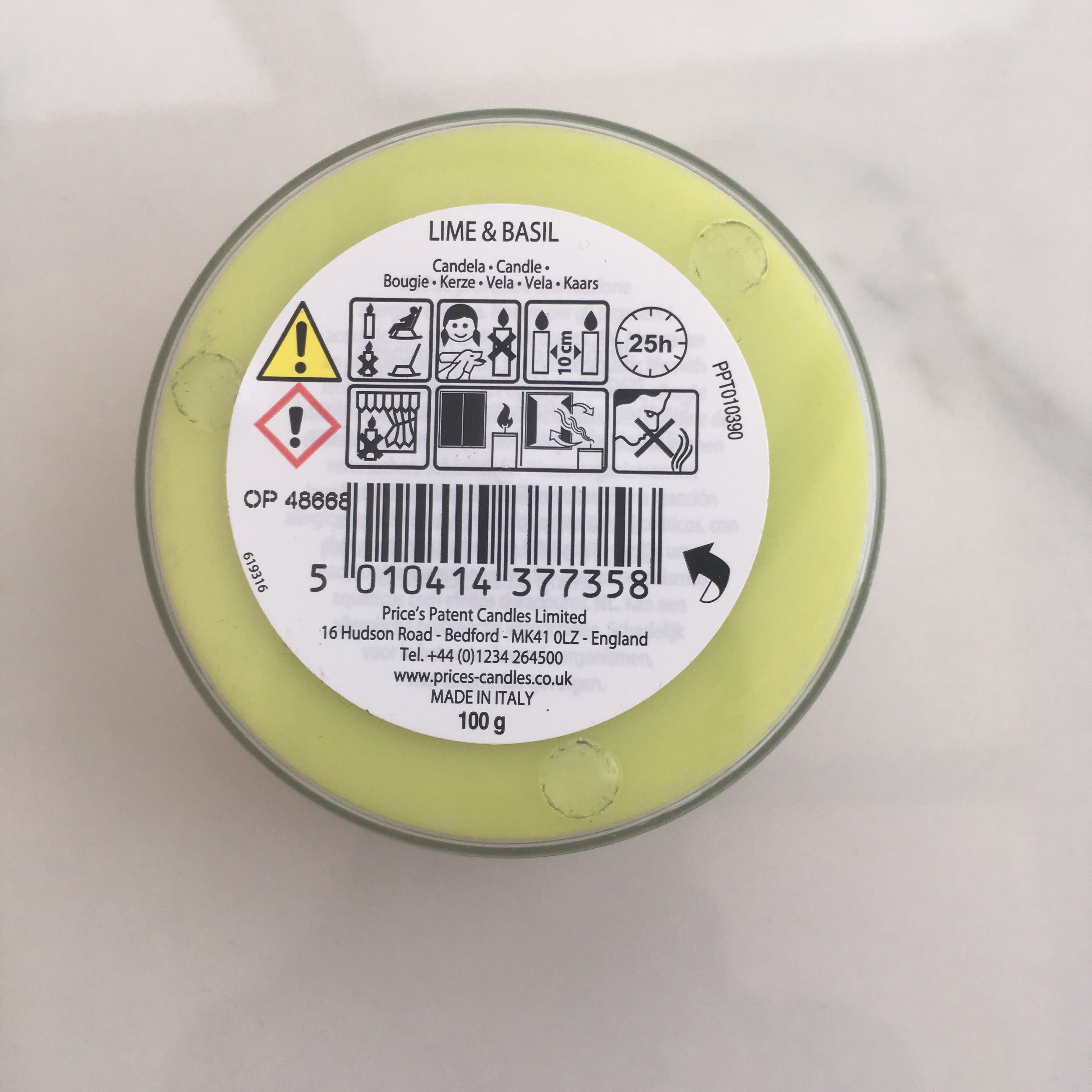 price's scented candle safety information label