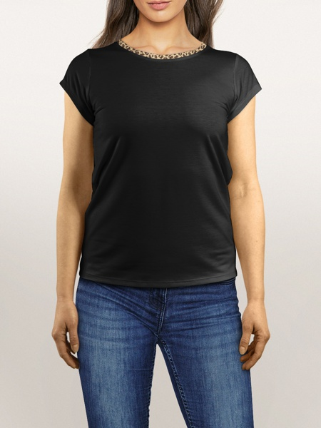 black t-shirt leopard print trim